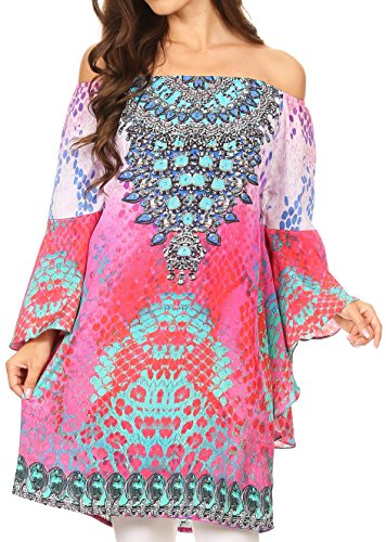 Sakkas P35 - Mosi Colorful Shift Dress Tunic with Bell Ruffled Sleeves & Rhinestones - 17235-Pink-red - OS
