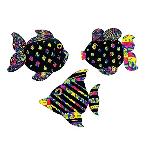 Fun Express - Magic Color Scratch Fish (24pc) - Craft Supplies - Magic Scratch - Ornaments - 24 Pieces