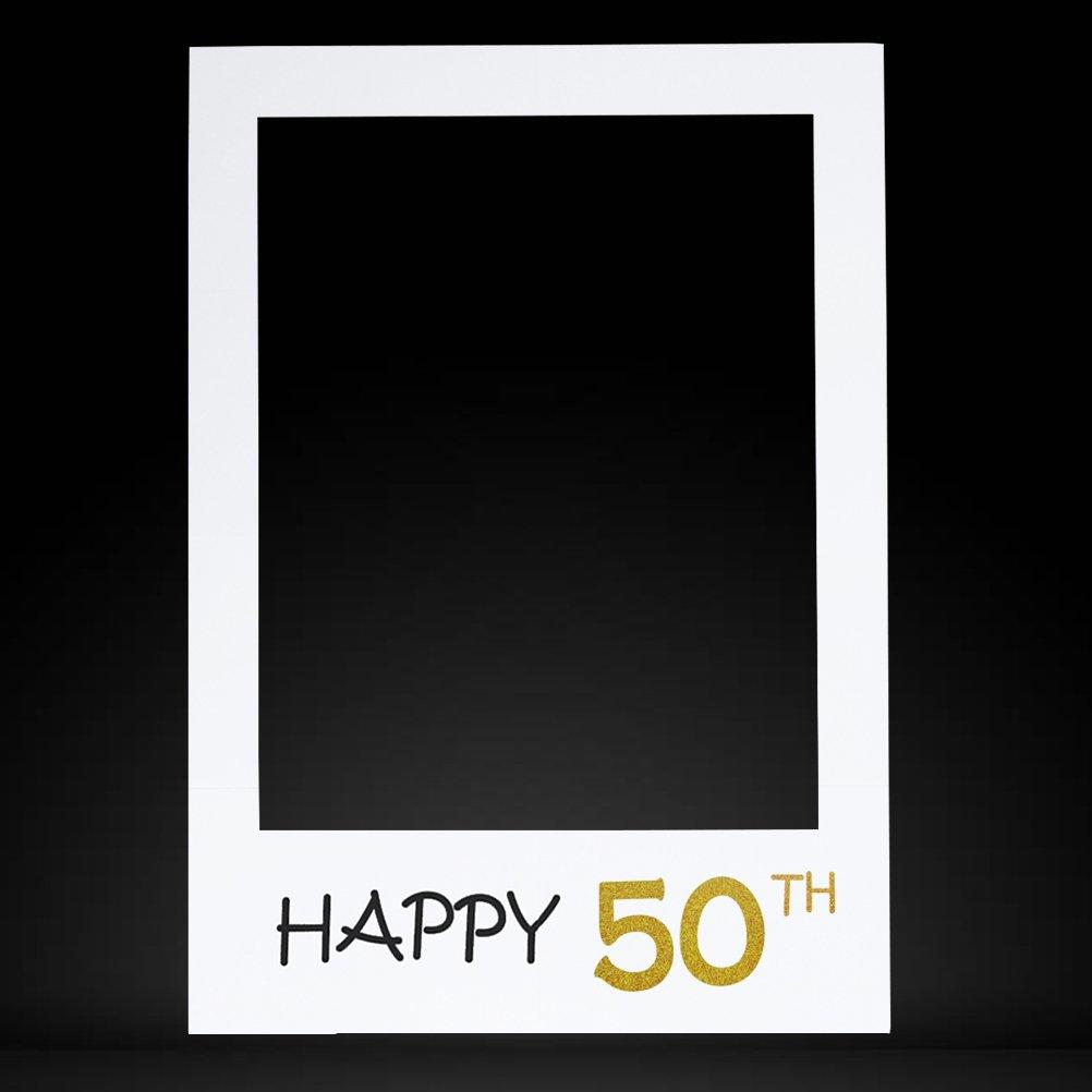 BESTOYARD Happy Birthday Photobooth Props Frame Selfie Frame Paper Picture Frame Cutouts Happy 50th DIY Photo Booth Props for Birthday Party