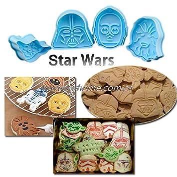 Laliva Star Wars - Molde cortador de fondant para galletas, 4 unidades: Amazon.es: Hogar