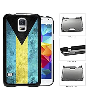 Bahamas Flag Black Triangle with Aquamarine and Yellow Horizontal Bands Grunge Hard Snap on Phone Case Cover Samsung Galaxy S5 I9600