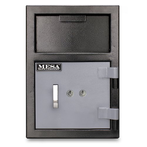 Mesa Safe MFL2014K All Steel Depository Safe with Key Lock, 0.8-Cubic Feet, Black and Grey