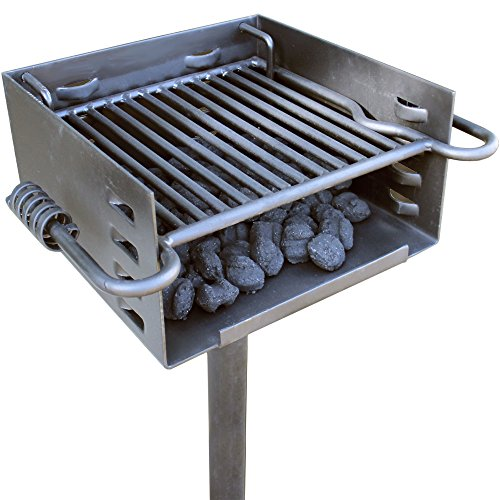 Charcoal Patio Post Mount Barbecue - Heavy Duty Park Style Charcoal Grill
