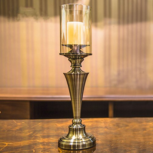 Candle holders,Candlestick holder Metal candle holder Retro Home furnishings Villa decorations restaurant Living room Porch decoration-B by Wangs