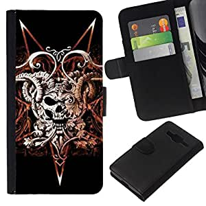 All Phone Most Case / Oferta Especial Cáscara Funda de cuero Monedero Cubierta de proteccion Caso / Wallet Case for Samsung Galaxy Core Prime // Devil Rock Metal Horns Skull Black