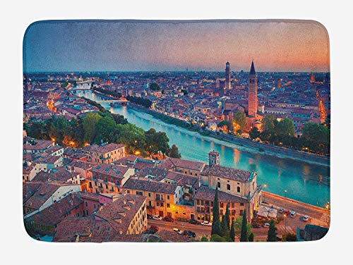 European Bath Mat, Verona Italy During Summer Sunset Blue Hour Adige River Medieval Historcal, Plush Bathroom Decor Mat with Non Slip Backing, 23.6 W X 15.7 W Inches, Aqua Coral Green ()