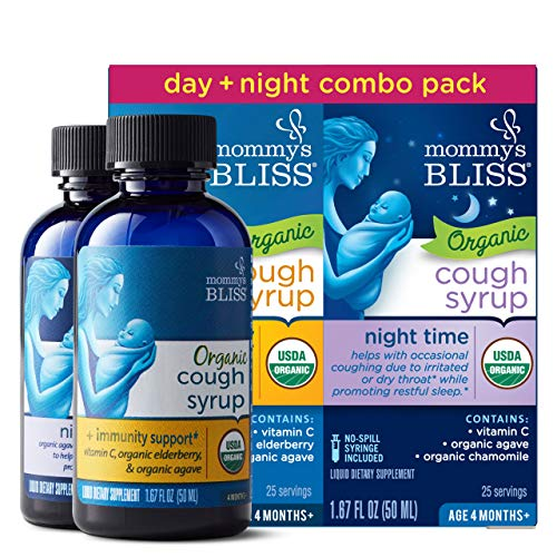 Mommy's Bliss - Organic Baby Cough Syrup + Immunity Support Day/Night Combo Pack - 3.34 FL OZ (1 Bottle Day + 1 Bottle Night)