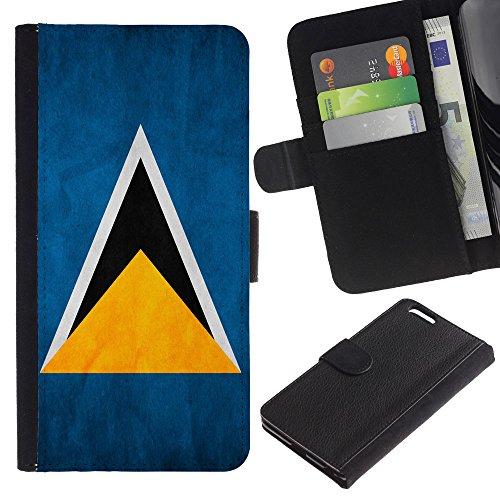 EuroCase - Apple Iphone 6 PLUS 5.5 - Saint Lucia Grunge Flag - Cuir PU Coverture Shell Armure Coque Coq Cas Etui Housse Case Cover