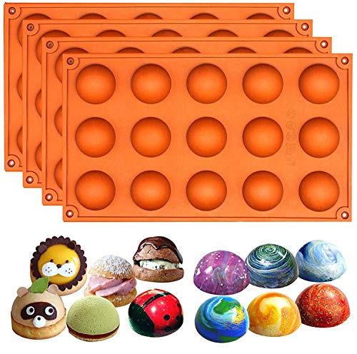 Mold Candy 4 Cavities - Funshowcase 15 Cavity Semi Sphere Half Round Dome Silicone Mold Chocolate Teacake Baking Tray 4-Bundle 1.5inch Cavities