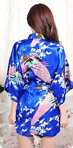 Con Donna Notte V Estivo Accappatoio Vintage Corto Kimono Elegante Stampa Fiore Scollo Camicia Vestaglia Da Blu Cintura URnwSqxq