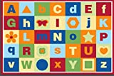 Large Kid Rug, 52''x74'', Safe and Fun Toys Rug With Non-Slip Backing, Road Carpet Playmat For Kidroom, Playroom and Classroom (Alphabet)