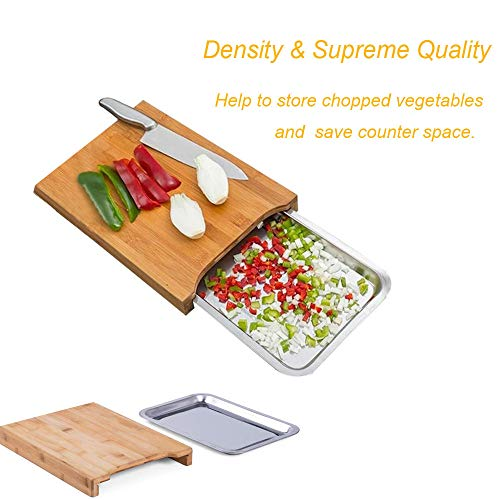 (Vovomay Bamboo Cutting Board With Stainless Steel Tray for Kitchen Eco-friendly Bamboo)