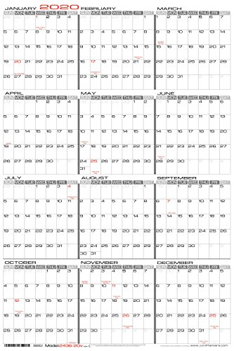 "24"" x 36"" Large Wet Erase - Yearly 2020 Wall Calendar - Laminated Vertical Planner (2436-20v)"