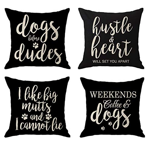 - NIDITW Set of 4 Sisters Dogs Mom Gift Paw Prints with Funny Words Dogs Before Dudes Body Black Cream Burlap Throw Pillow Case Cushion Cover Pillow Shell Sofa Home Decorative Square 18X18 Inches