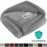 PetAmi Waterproof Dog Blanket for Medium Dogs, Puppies, Small Cats | Soft Sherpa Fleece Pet Blanket Throw for Sofa…