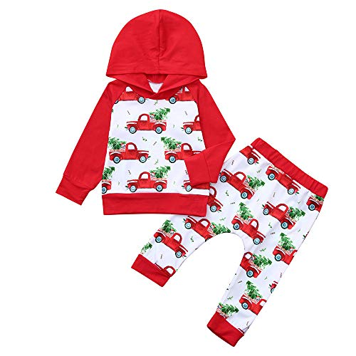 residentD Baby Clothing Long Sleeve Car Print Hoodie Tops+Pants Christmas Outfits (3-6 Months, Red)