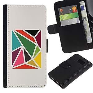 Paccase / Billetera de Cuero Caso del tirón Titular de la tarjeta Carcasa Funda para - Pattern Abstract Minimalist - Samsung Galaxy S6 SM-G920