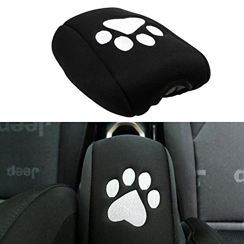 E-cowlboy Neoprene Center Console Armrest Pad Cover Black Dog Paw Protector Cushion for Jeep Grand Cherokee 2010 2011 2012 2013 2014 2015 2016