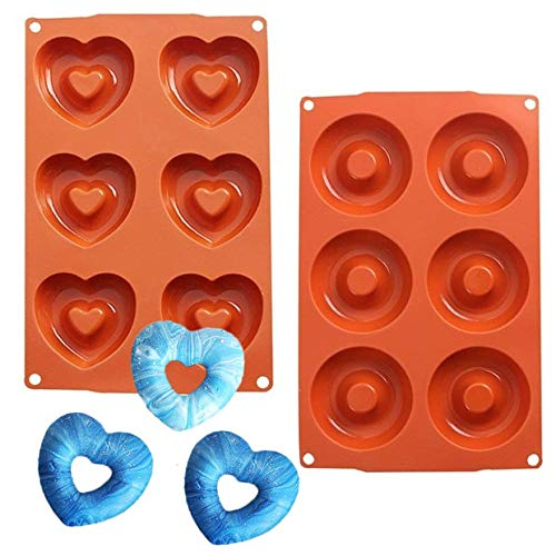 2 Pcs Classic Heart Silicone Doughnut Baking Pan Mold, Dishwasher, Oven, Microwave, Freezer -