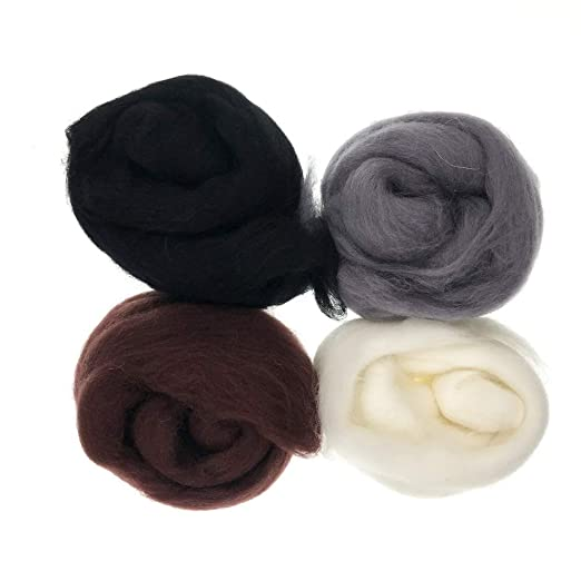 Cool Colors with Basic Shape Formation and Color Mixing Guidance Wool Queen 15gx4 70S Queensland Wool Tops Wool Roving