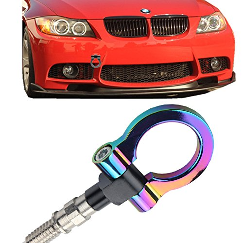 JGR Track Racing Style Tow Hook Towing Eye CNC Aluminum Screw On Front Rear Bumper For BMW 3 Series E36 E46 E90 E91 E92 E93 318 320 323 325 328 330 335 M3 1992 to 2012 Neo Chrome ()