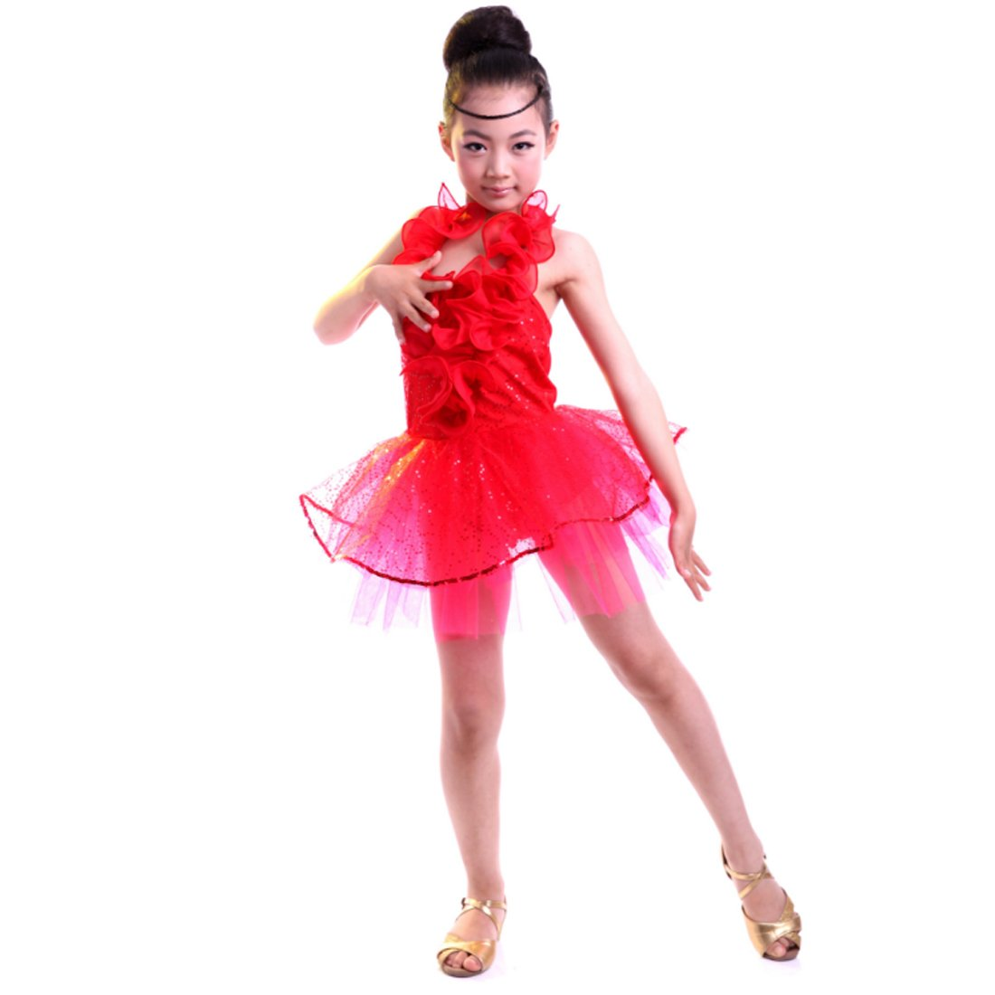 Fuyingda Girls Latin Dance Dress Tango Dance Wear Performance Wear Balletto