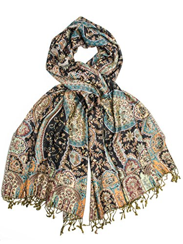 Bohomonde, Hana Reversible Cashmere Silk Pashmina Scarf, hand made in India (Black/Blue/Multi)