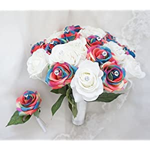 Lily Garden Artificial Mix Rainbow Rose Wedding Bouquet Arrangement (W&R with Crystal) 110