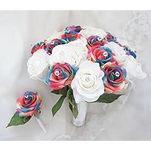 Lily Garden Artificial Mix Rainbow Rose Wedding Bouquet Arrangement 60