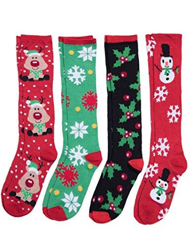 Caramel Cantina Knee High Festive Holiday Christmas Socks 4-Pack (One Size, Snow Time) (Socks Knee Christmas)