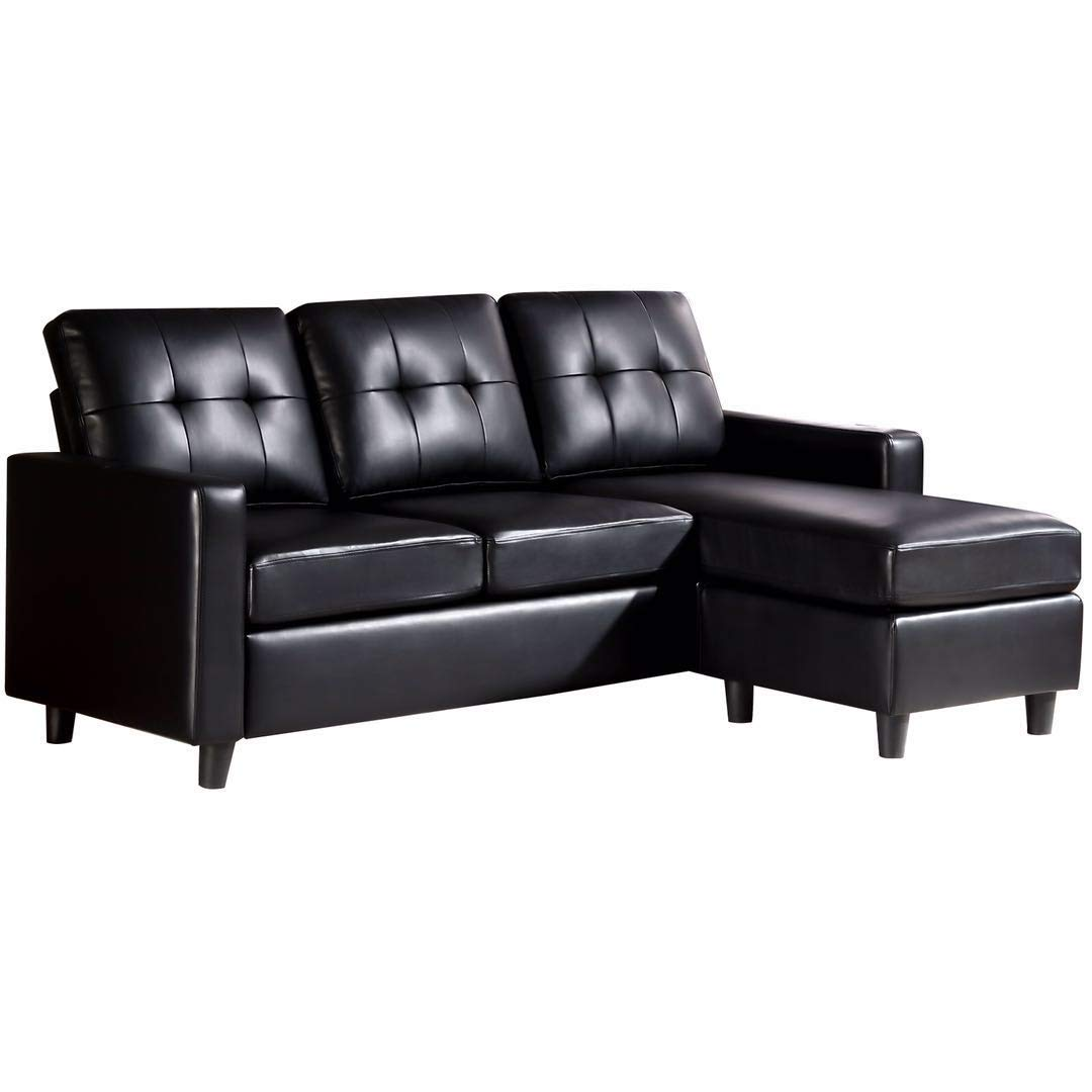 HONBAY Convertible Sectional Sofa Couch Leather L-Shape Couch with Modern  Faux Leather Sectional for Small Space Apartment Black | Jodyshop