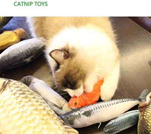 LOVEIFE 4 Pack Cat Catnip Toys, Kitty Fish Toy Pillow Chew Bite Kick Supplies for Pet - Vivid Color, Realistic and Safety 3