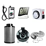 6in can fan - PrimeGarden 6'' Inline Fan Carbon Filter Ducting Combo + Variable Fan Speed Controller + Hygrometer Thermometer + 24 Hour Timer Outlet for Hydroponic Grow Tent Ventilation System (6'' Ventilation Kit)