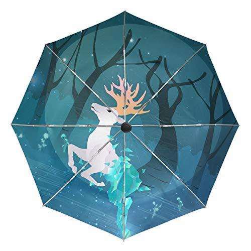 Mr.Lucien White Elk Auto Umbrella Open Close Windproof Half Crystal Body Forest Aesthetic Fairy Tale Fantasy Special Travel Umbrella Lightweight Compact Parasol Umbrellas Sun & Rain 2020063