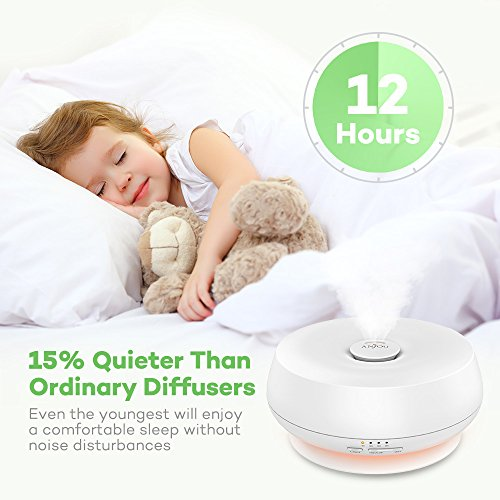 Essential Oil Diffuser 300ml Anjou Aroma Humidifier Ultrasonic Cool Mist Humidifier with Ultra-Quiet Operation (7 Changable Colors, BPA-Free, 4 Timer Mode, Up to 12H Use) by Anjou (Image #1)