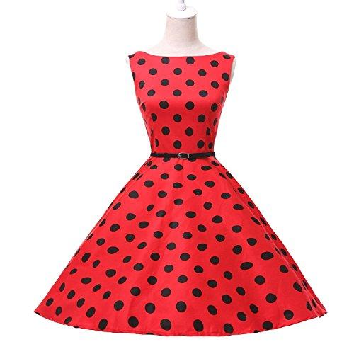 Grace Karin Audrey Hepburn 1960's Vintage Rockabilly Polka Dots Party Dress (S, 5)