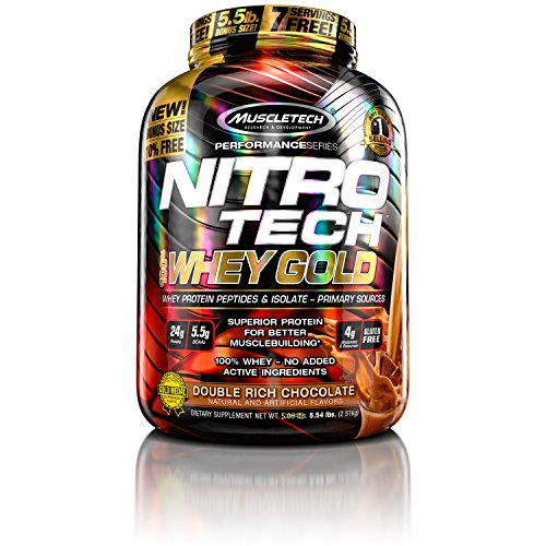 MuscleTech NitroTech Whey Gold, 100% Pure Whey Protein, Whey Isolate and Whey Peptides, Double Rich …