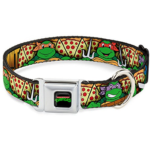 Buckle-Down Seatbelt Buckle Dog Collar - Classic TMNT Turtle Poses/Pizza Slices - 1