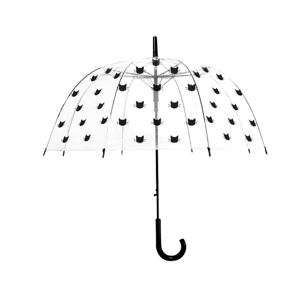 Clear Bubble Umbrella Windproof Rainproof Cute Cat Dome Umbrella Long Handle Auto Open Transparent Rain Umbrella for Adults Kids Girls (C)