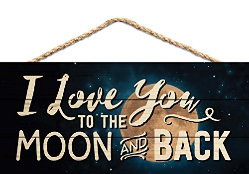 Love You to the Moon and Back Night Sky 5 x 10 Wood Plank Design Hanging Sign (Moon Wood Sign)