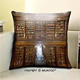 PleayeL Soft Canvas Throw Pillow Covers Cases for Couch Sofa -a wonderful library of old books menendez pelayo in santander spain Print 16'' x 16''(40 x 40 cm)