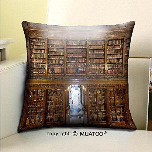PleayeL Soft Canvas Throw Pillow Covers Cases for Couch Sofa -a wonderful library of old books menendez pelayo in santander spain Print 16'' x 16''(40 x 40 cm) by PleayeL