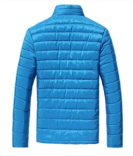 Collar Stand Zip Mens Lake Casual Thicken Fit XINHEO Blue Solid Anorak Jacket apwgSxqq