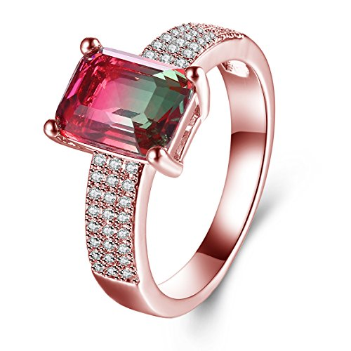 Jiangyue Women Rings Watermelon Stone Created Crystal Rose Gold Plated ElegantExquisite Charming Ring Party Jewelry Size 5