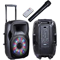 AW 15 LED Portable Loudspeaker Rechargeable Speaker PA System+Bluetooth+USB/TF/FM+RGB Disco Light Party Concert
