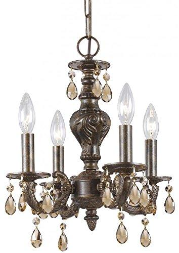 Crystorama 5024-VB-GT-MWP, Sutton Mini Crystal Chandelier Lighting, 4 Light, 240 Watts, Bronze