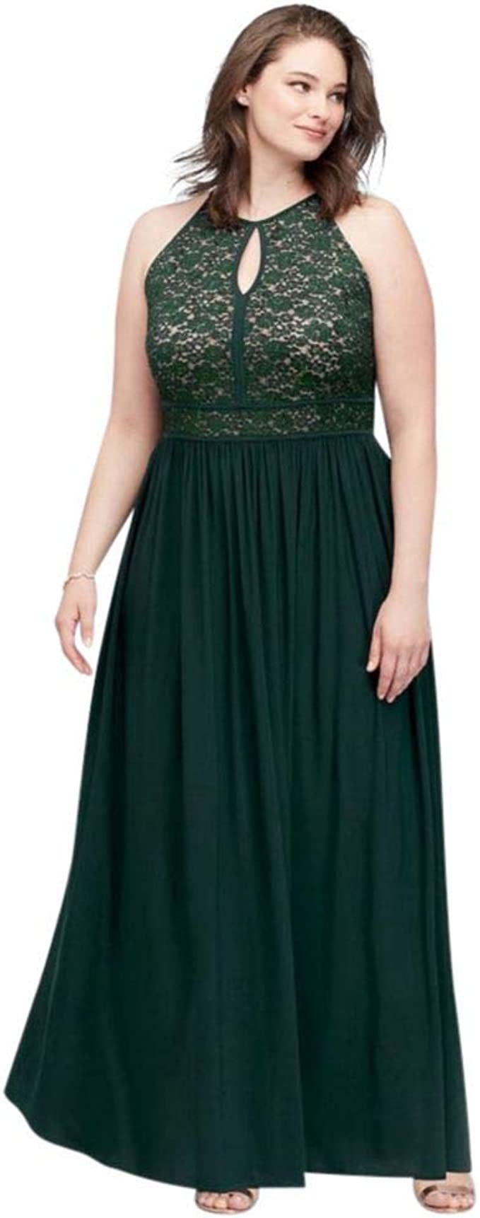 Lace Keyhole Tie Back Plus Size Halter Dress Style 12089DW