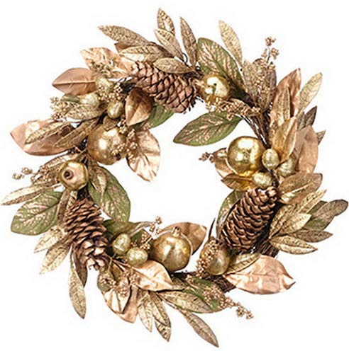 (Mikash 24 Pomegranate, Pinecone Berry Artificial Hanging Wreath -Gold | Model WRTH - 391)