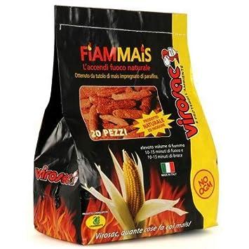 Virosac - Encendedor de fuego ecológico, mazorcas de maíz impregnadas en parafina, para barbacoas, chimeneas, estufas, 20 unidades: Amazon.es: Jardín