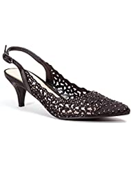 Dressy Sling Back Low Heel Shoes with Rhinestones Women's by Lady Couture JEWEL